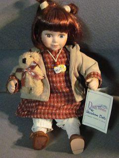 Duck House Heirloom Doll 12 tall holding bear, cat necklace, auburn