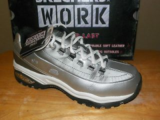 NIB Womens Skechers Steel Toe Shoe Szs 5.5 6.5 #76212/SLBK