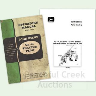 LOT JOHN DEERE No 44 TRACTOR PLOW OWNER OPERATOR and PARTS CATALOG