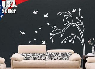 Wall Decor Mural Art Vinyl Decal Sticker Swirls Tree Blowing With