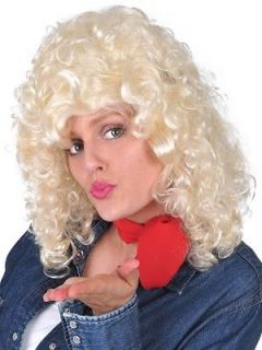 Blonde Curly Country and Western Dolly Parton Costume Party Wig