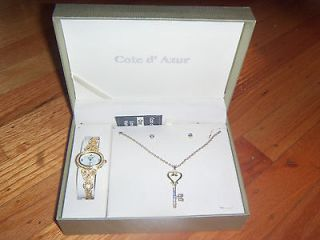 SET OF COTE D' AZUR WATCH AND PENDANT WITH EARRINGS NEW.