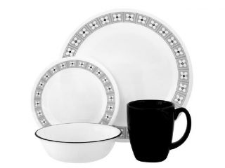 CORELLE 16pc FLORAL CONNECTION Dinnerware Set BLACK/GREY GRAY FLORAL