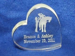 Engraved CRYSTAL Western Heart Wedding Cake Topper Horse NEWEST