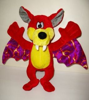 RARE BJ TOY Co RED DINGBAT BAT PLUSH PRIZE CARNIVAL CLAW GRABBER 9