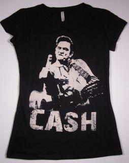 Johnny Cash T shirt Womens Juniors Tee SzM New Black