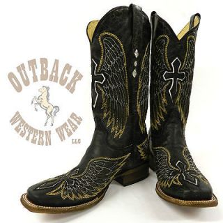 Corral Mens Black Gold Wing & Cross Boots A1972