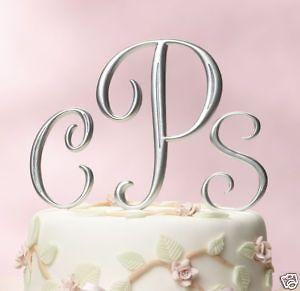 Silver Monogram Wedding Cake Topper CHOOSE LETTERS Size