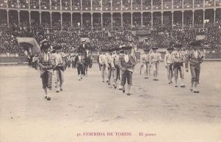 Corrida de Toros El paseo vintage Spain Spanish bullring postcard