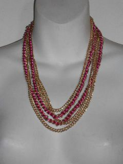 Cara New York Multi Gold Chain Pink Ribbon Layering Necklace NWT $128