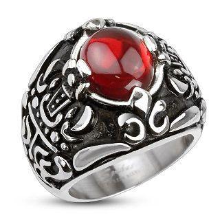 Steel royal crown red C.Z. center cast mens ring fr sz9~ sz14