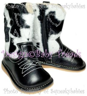 Shoes Cowboy Boots Black with Cow Print ORIGINAL DESIGN Cowgirl WOW