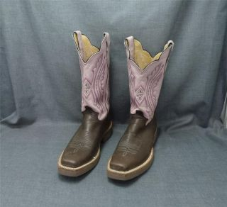 Justin Brown Pink Leather Western Cowboy Boots Square Toe EUC 8.5B