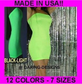 Plus Sexy NEON BLACKLIGHT GLOW Mini Tube Top Dress Party Cocktail