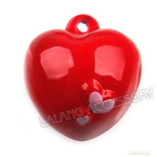 5x Red Love Heart Jingle Bells Pendants 20mm Fit XMAS Wedding Charms