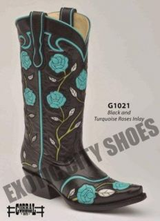 Corral Womens Leather Cowboy Western Boots Black & Turquoise Roses