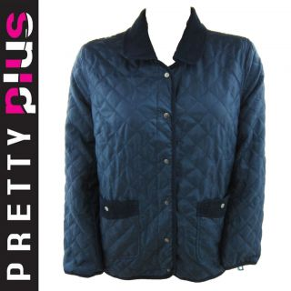 NEW LADIES PADDED QUILTED NAVY CRISS CROSS JACKET COAT PLUS SIZE 16 TO