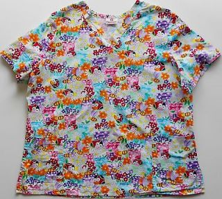 WHITE CROSS WOMENS SCRUB NURSES UNIFORM HAPPY BEES AND LADYBUGS PRINT