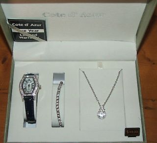 COTE DAZUR WATCH NECKLACE BRACELET SET BNIB RRP $99.95