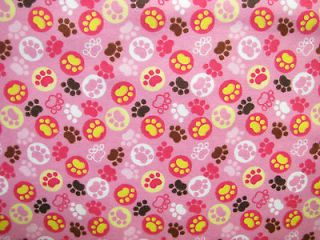 Little Teddy flannel paw prints pink brown yellow white baby girl