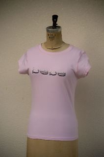 bebe Unique Two Tone Crystal Logo Light Pink Stretch T Shirt Size