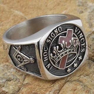 Knights Templar Masonic Ring Cross & Crown Master Freemason Square G