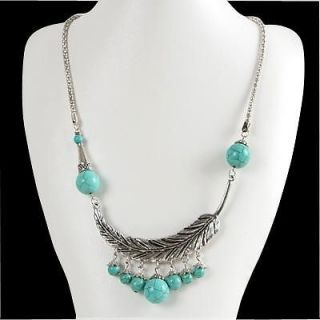 Style Fashion Women Jewelry Turquoise Tibet Silver SP Pendant Necklace