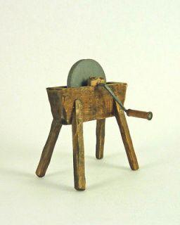Dollhouse Miniature Artisan Vintage Style Grinding Wheel, Aged