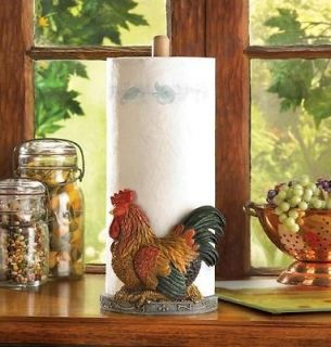 Country ROOSTER Adorable Kitchen Countertop Paper Towel Holder