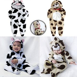 27) Baby Boy Girl Animal Bodysuit Leopard Cow Patter Fleece
