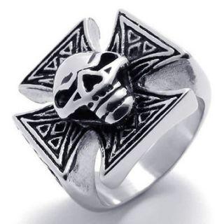 B20684 Black Silver Skull Cross Stainless Steel Mens Ring Size 8,9,10