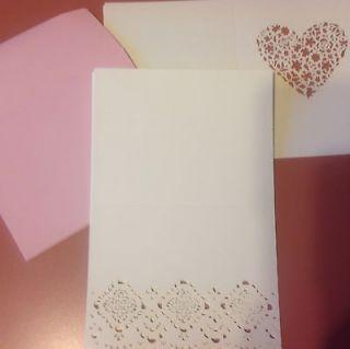 Cards & Envelope Stationary Set   StampinUp!   Filigree Heart Pink