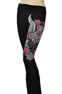 PANTS CRYSTAL ROSES ANGEL WINGS CROSS CROWN TATTOO & ED HARDY PERFUME