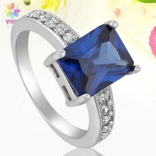 Blue Sapphire Topaz 18k White Gold Plated Emerald Cut Ring Size 6
