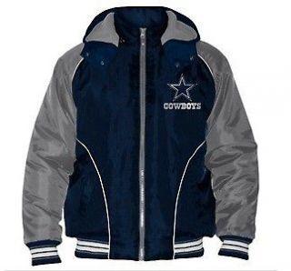 Dallas Cowboys Official NFL Polyfill Jacket Detachable Hood M L XL 2X