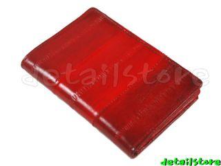 EEL SKIN CREDIT BUSINESS CARD HOLDER CASE RED US SHIP