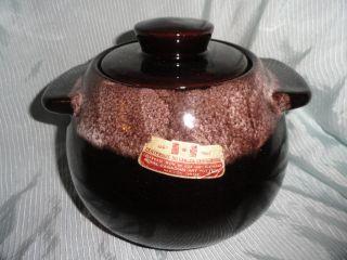 Royal Canadian Art Pottery Bean Pot, 1967, still has original foil