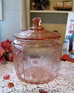 Lovely Retro PINK GLASS BISCUIT COOKIE JAR ~ New