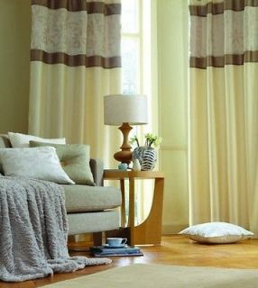 Ivory Eyelet Ring Top Faux Silk Curtains / Cushion Cover   Various