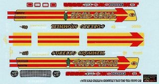 25 SCALE COLELLO & CROMWELLS TACO TIME VEGA FUNNY CAR DECAL