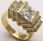 Vintage Sz9 Ring w/ Square Clear CZ & Accents Gold Plated 925 Sterling