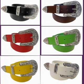 Western Cowgirl Rhinestone Belt Buckle Set 1.5 Width Free Snap Belt