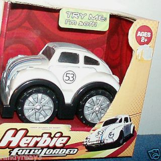 WALT DISNEYS HERBIE FULLY LOADED WHITE # 53 SOFT VEHICLE WITH SOUNDS