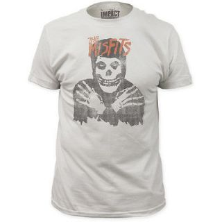 NEW The Misfits Vintage Faded Look Skull Band Logo Name Punk Adult T