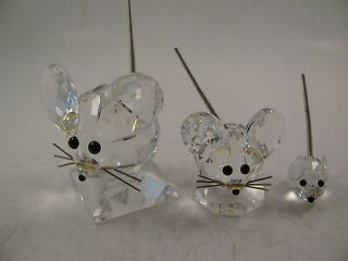 SWAROVSKI CRYSTAL 3 MOUSE MICE FAMILY WIRE TAILS & WHISKERS