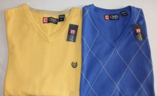 NWT $49 Mens CHAPS V neck Cotton Sweater Vest Yellow (M) or Blue