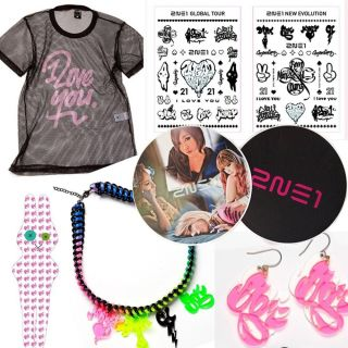 2NE1 I Love You Official Goods Mesh T shirt Sticker Pendent Earring
