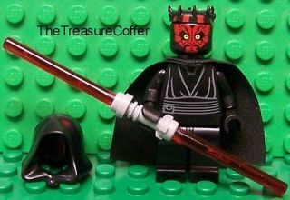 Lego Star Wars DARTH MAUL w/ Dual Lightsaber, Cape, Hood & Horns NEW