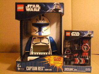 Lot of 2 Lego Star Wars Alarm Clock & Watch DARTH MAUL CAPTAIN REX