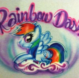 LITTLE PONY HORSE Blue Shirt UNICORN Rainbow Dash T SHIRT AIRBRUSHED